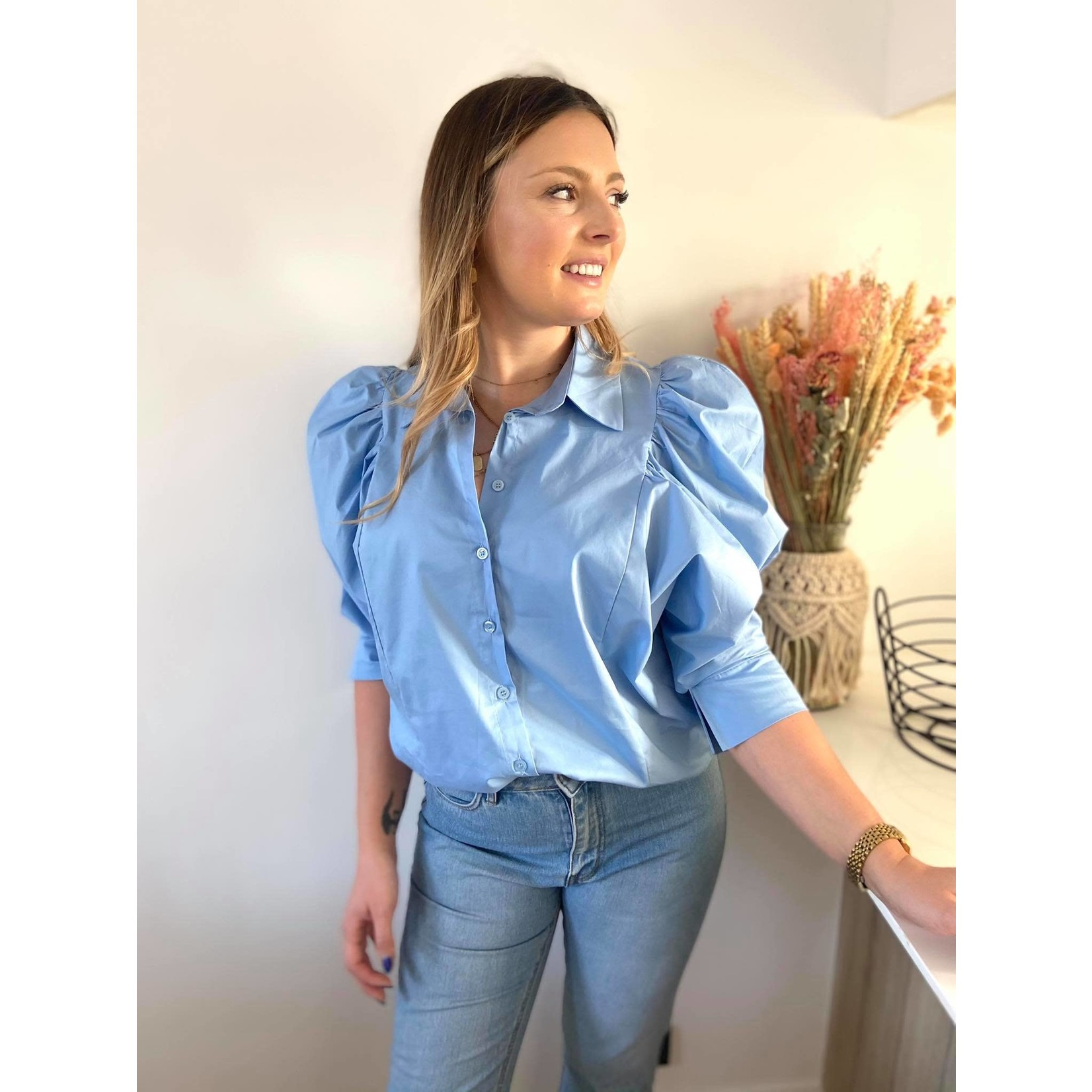 Puffed sleeve shirt blue TU
