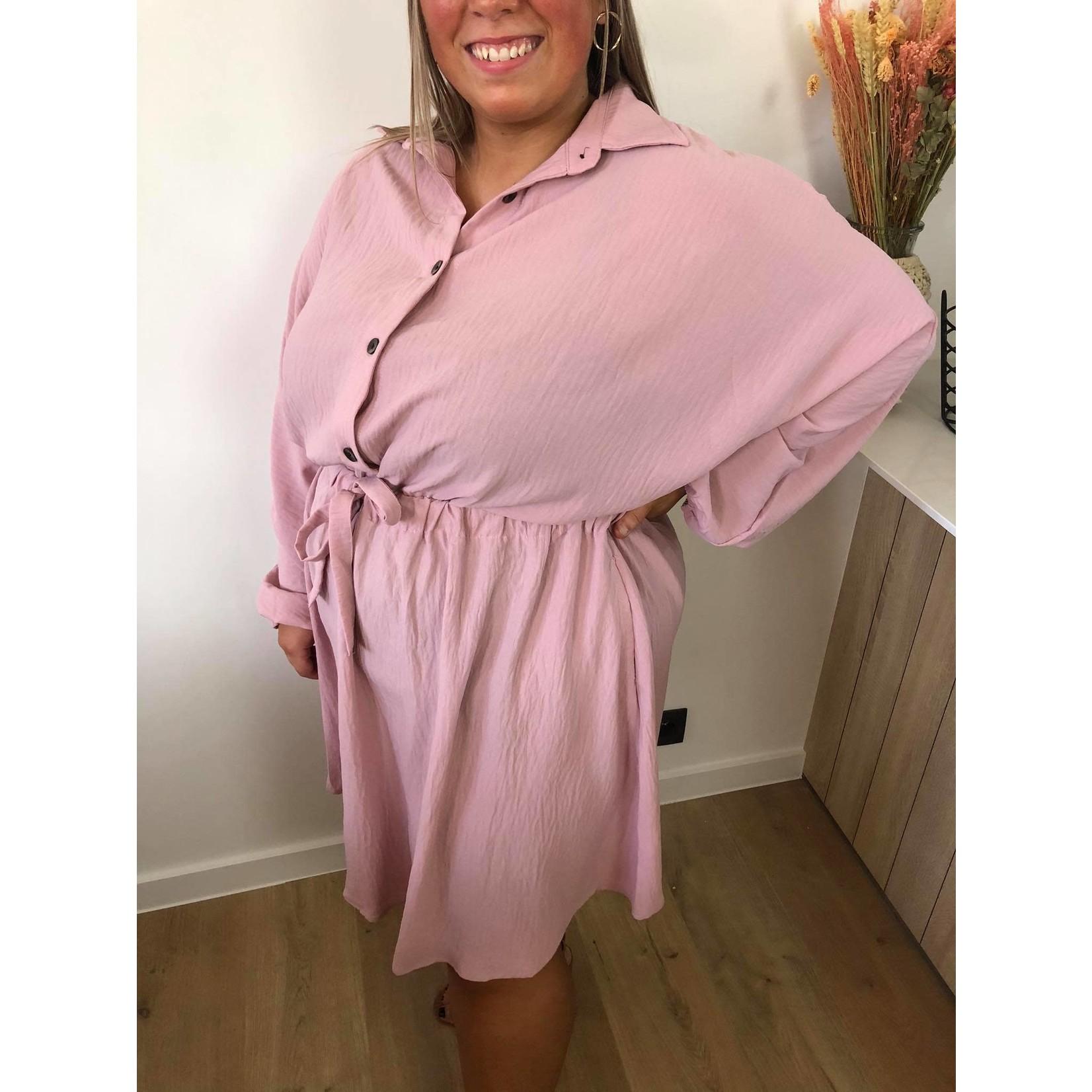 Sweet buttoned dress pink
