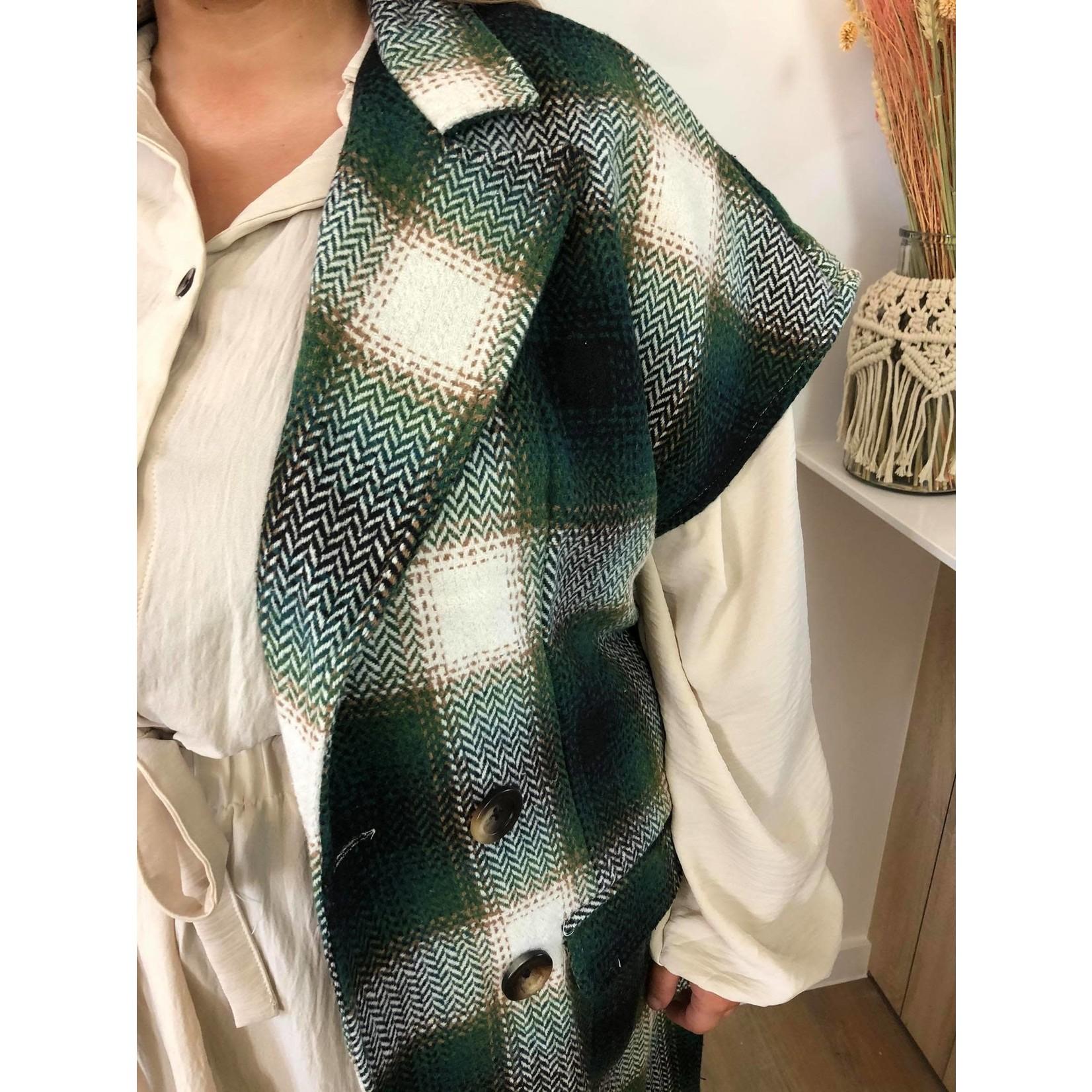 Sleeveless check jacket green