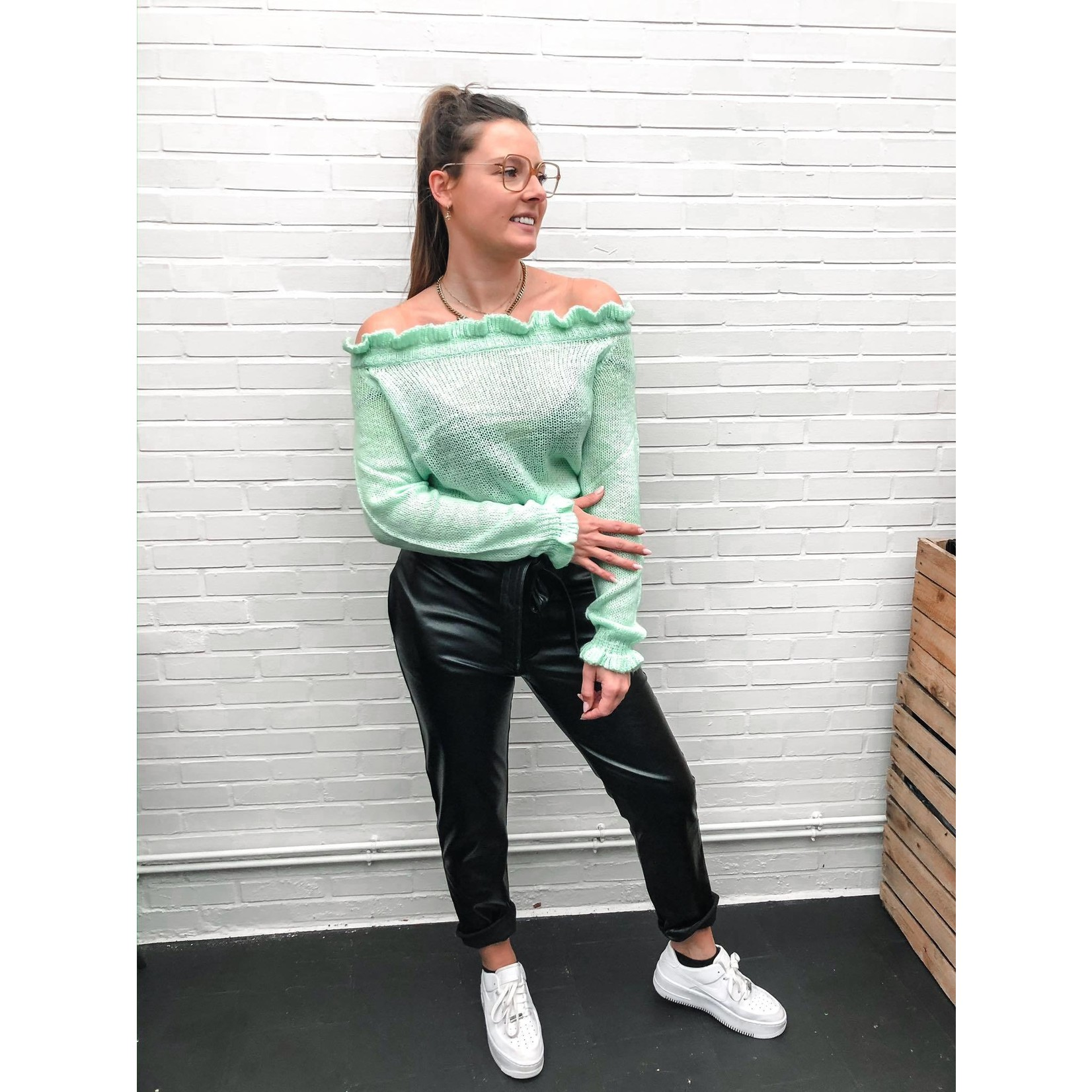 SAVANNA OFF SHOULDER KNIT mint green