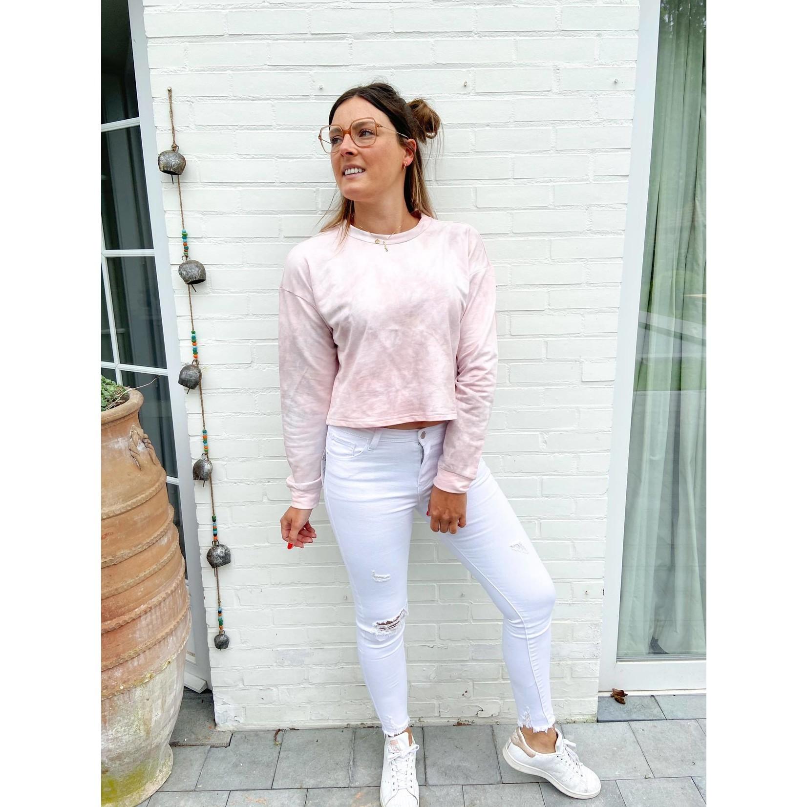 CELINE SHORT SWEATER pink tie dye