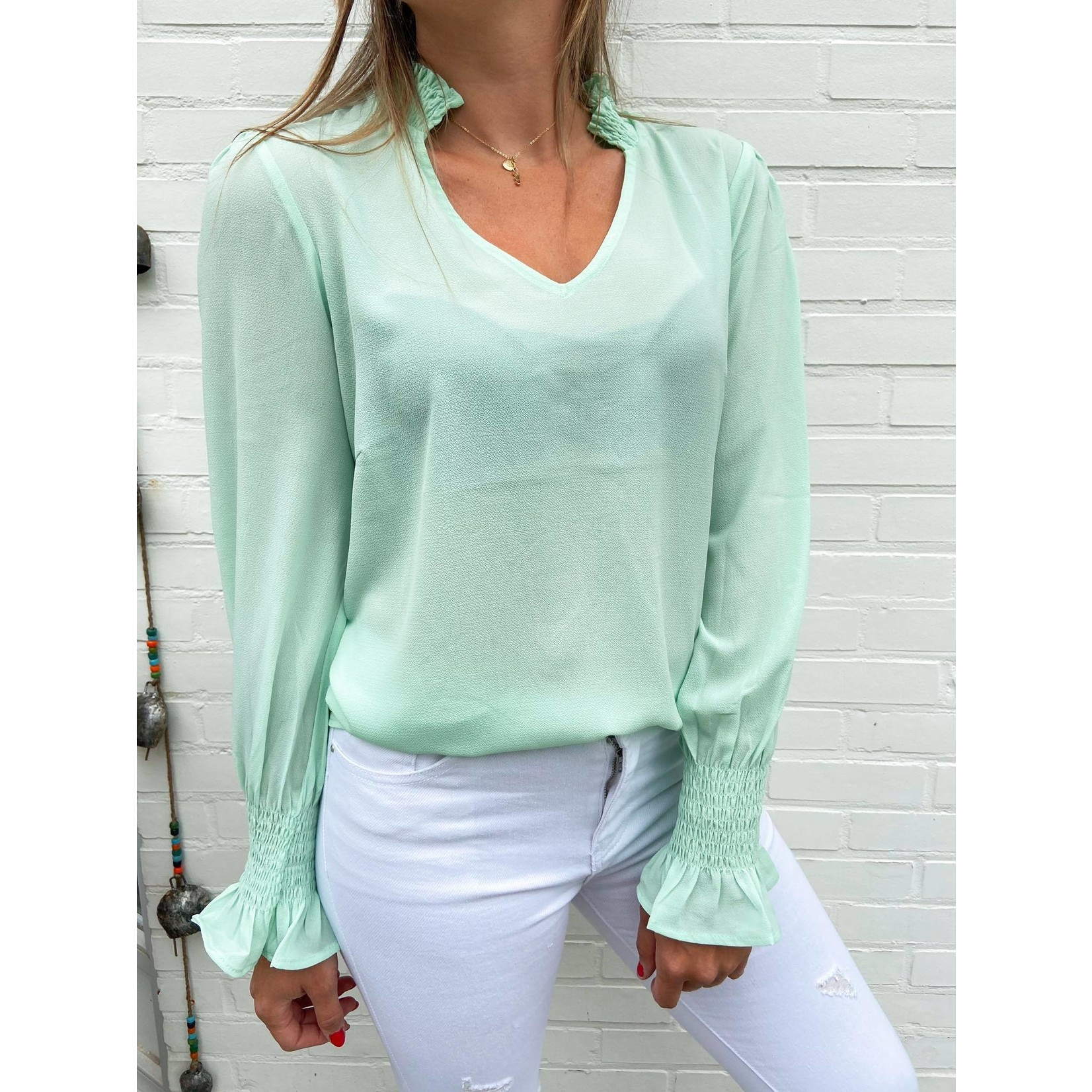 ANA SMOCK BLOUSE mint green