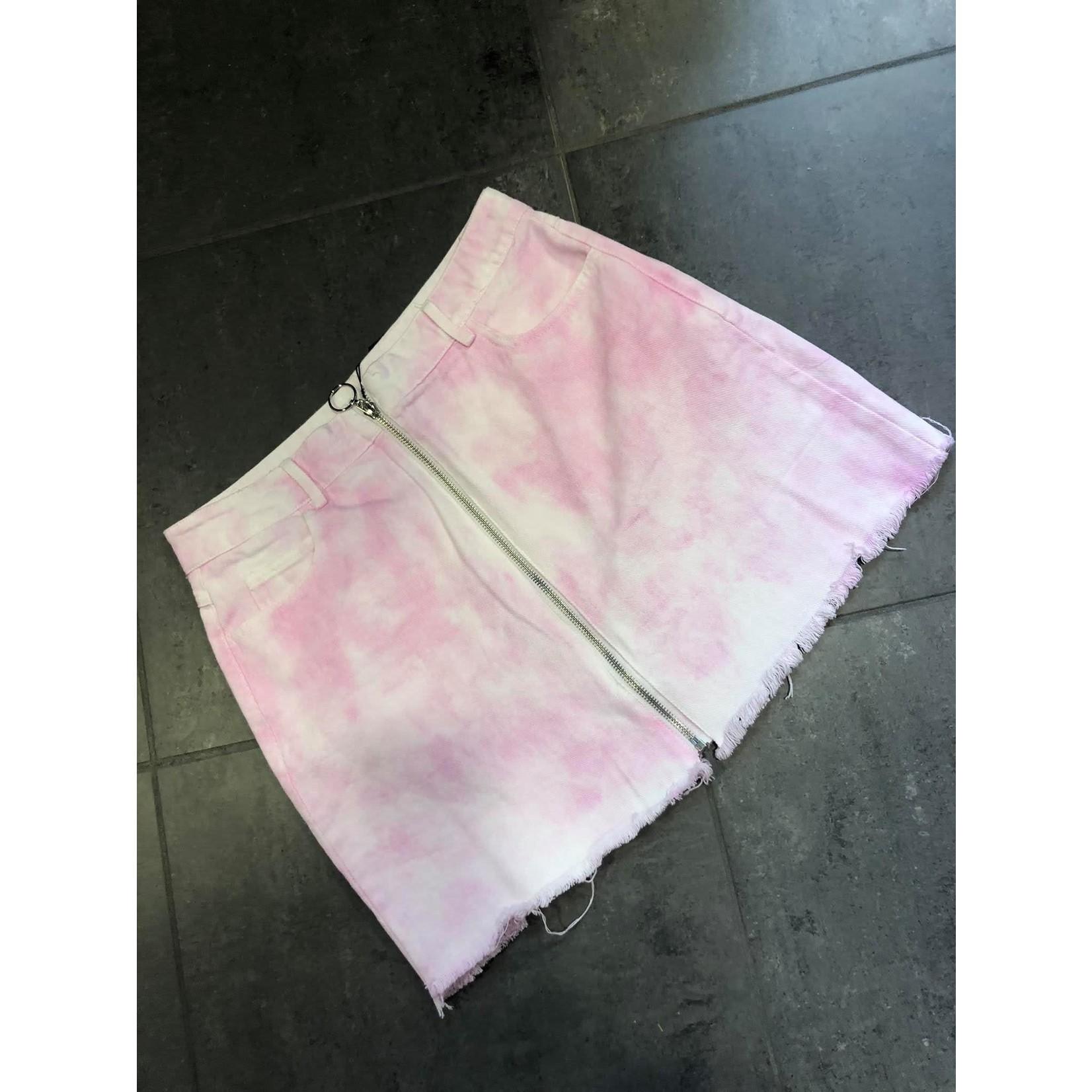 Tie & dye skirt pink