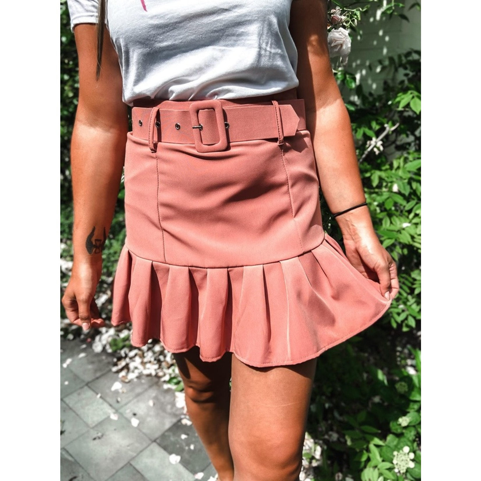 Skirt with ruffles oud roos