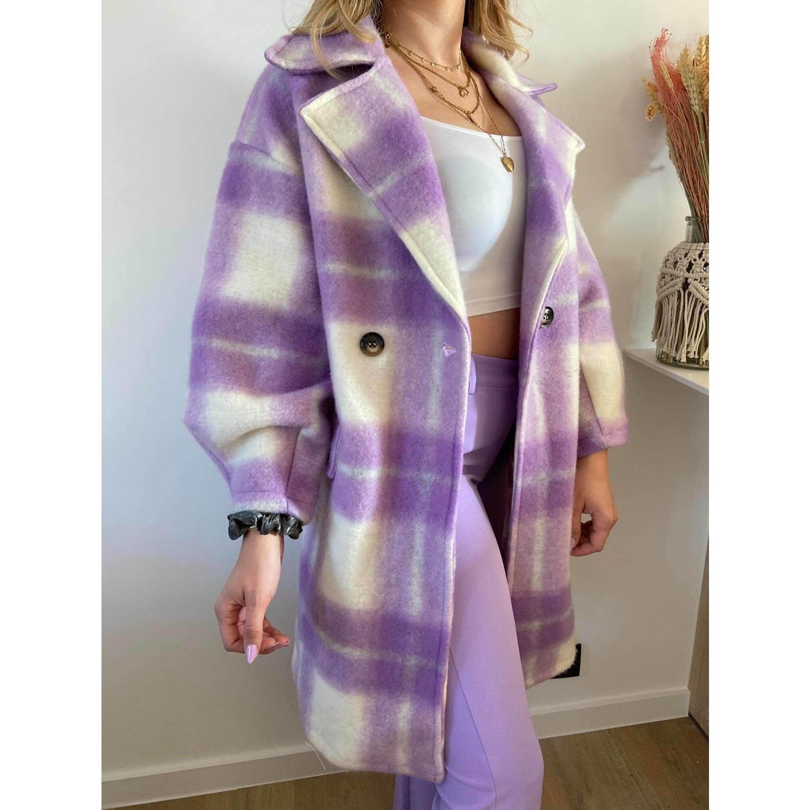 Check coat lila TU