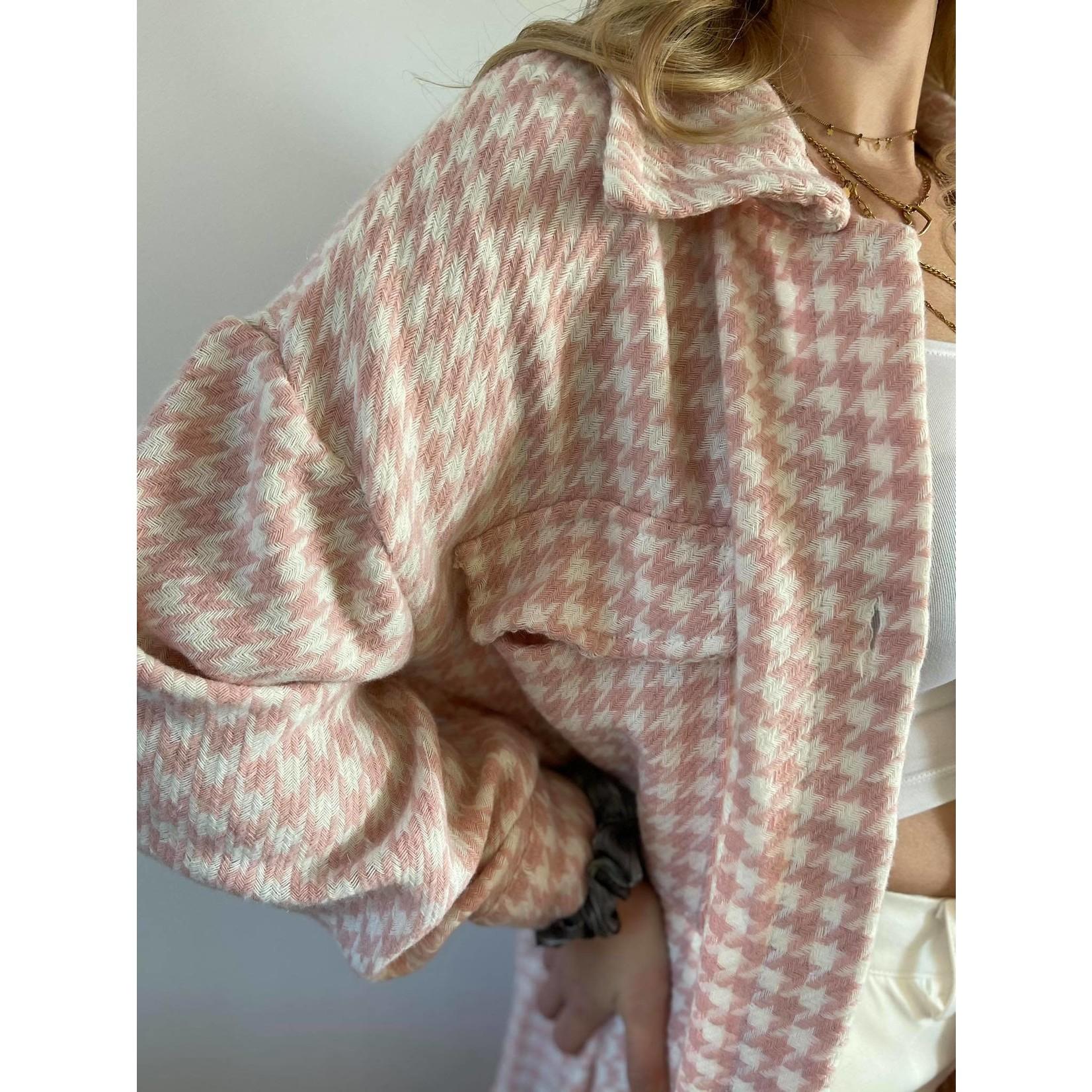 Houndstooth overshirt pink TU