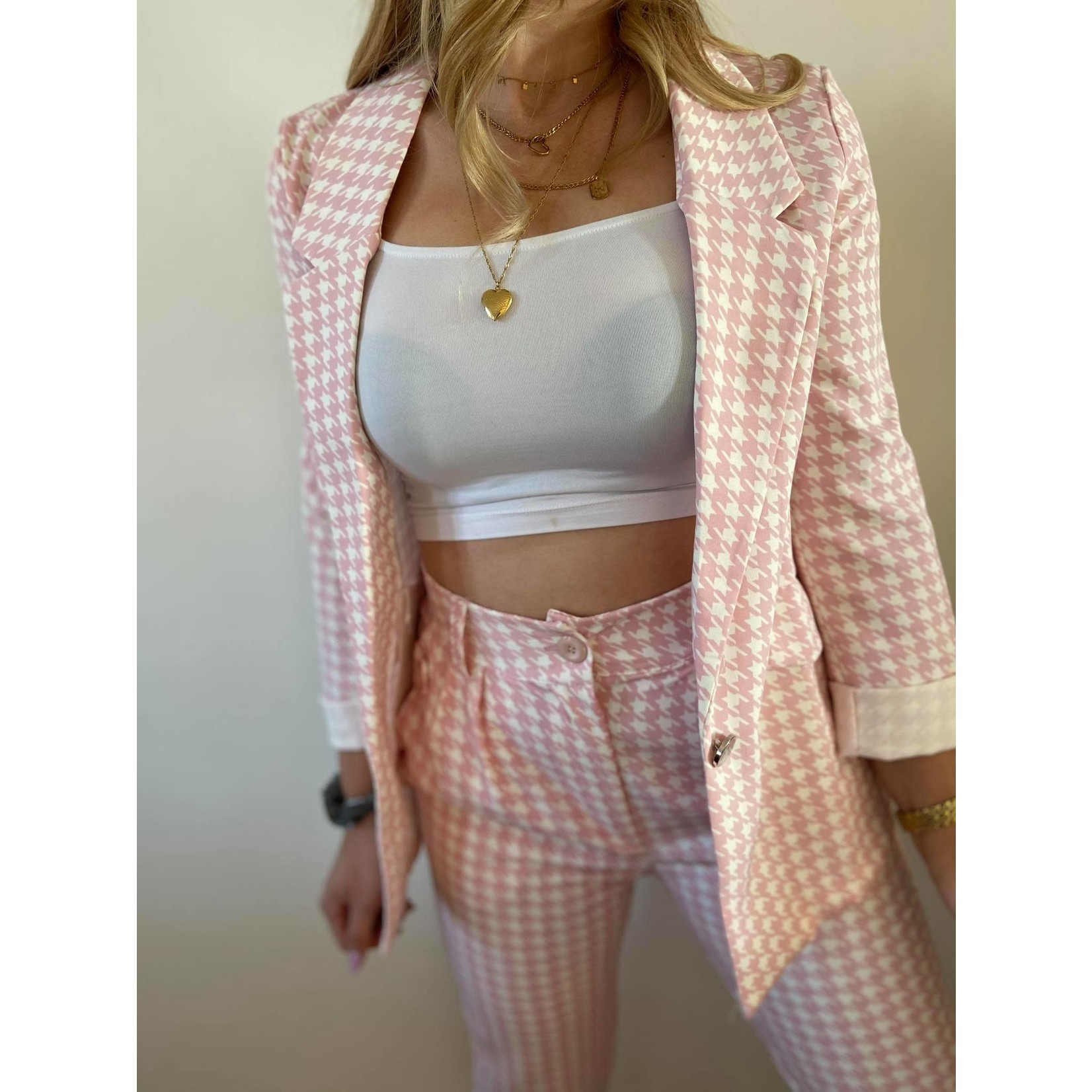 Houndstooth pants pink
