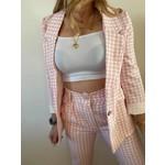 Houndstooth blazer pink