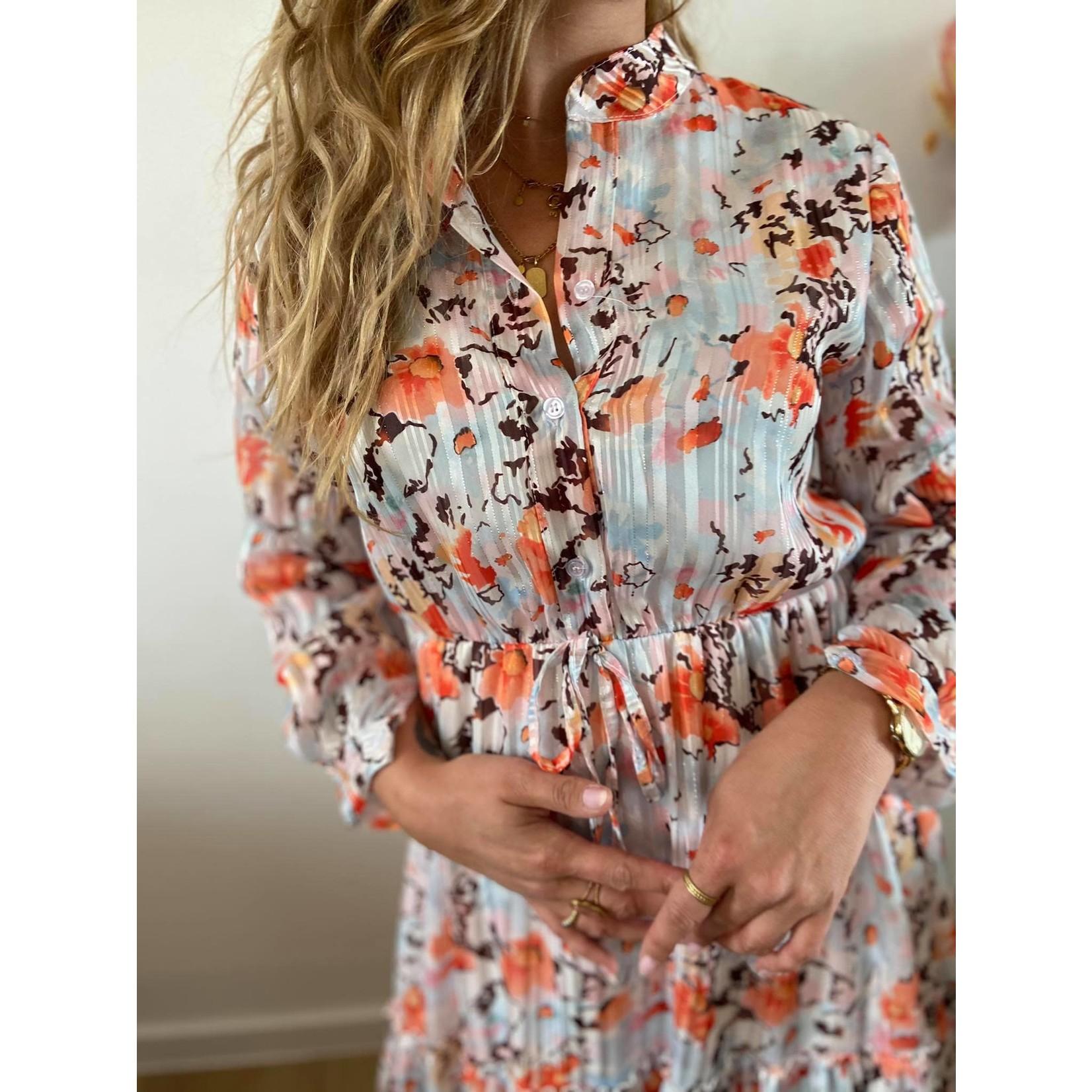 Caline white orange flower dress TU