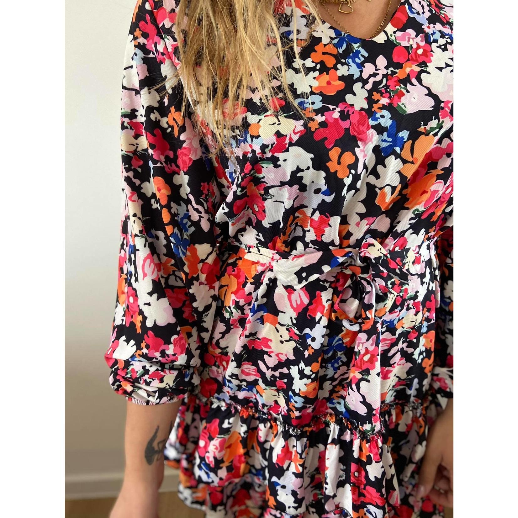 Lora red flower dress TU