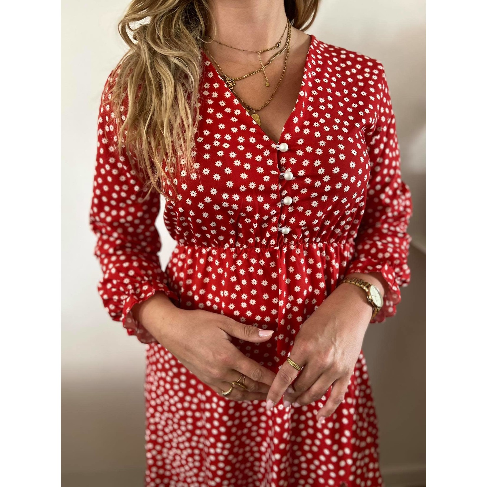 Ester dress red white flower TU