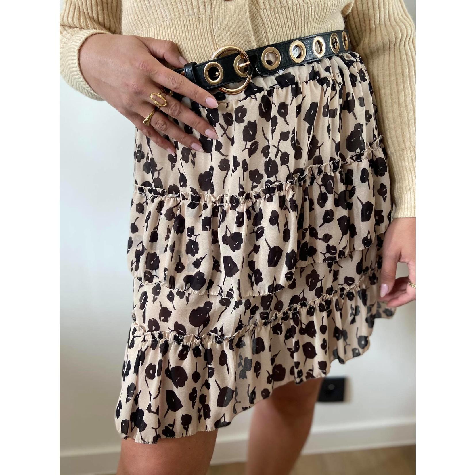 Zaan black flower skirt TU