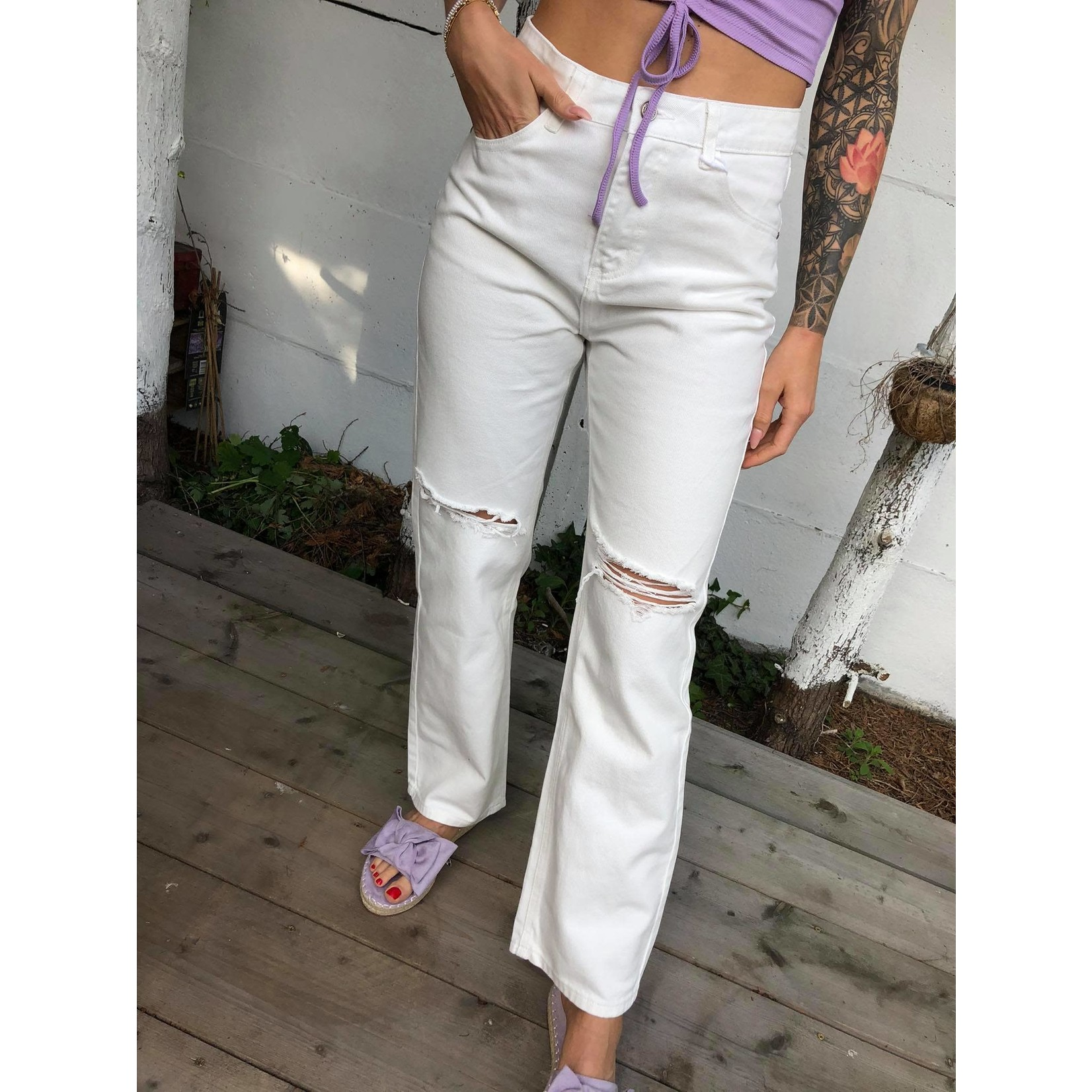 Straight ripped jeans white