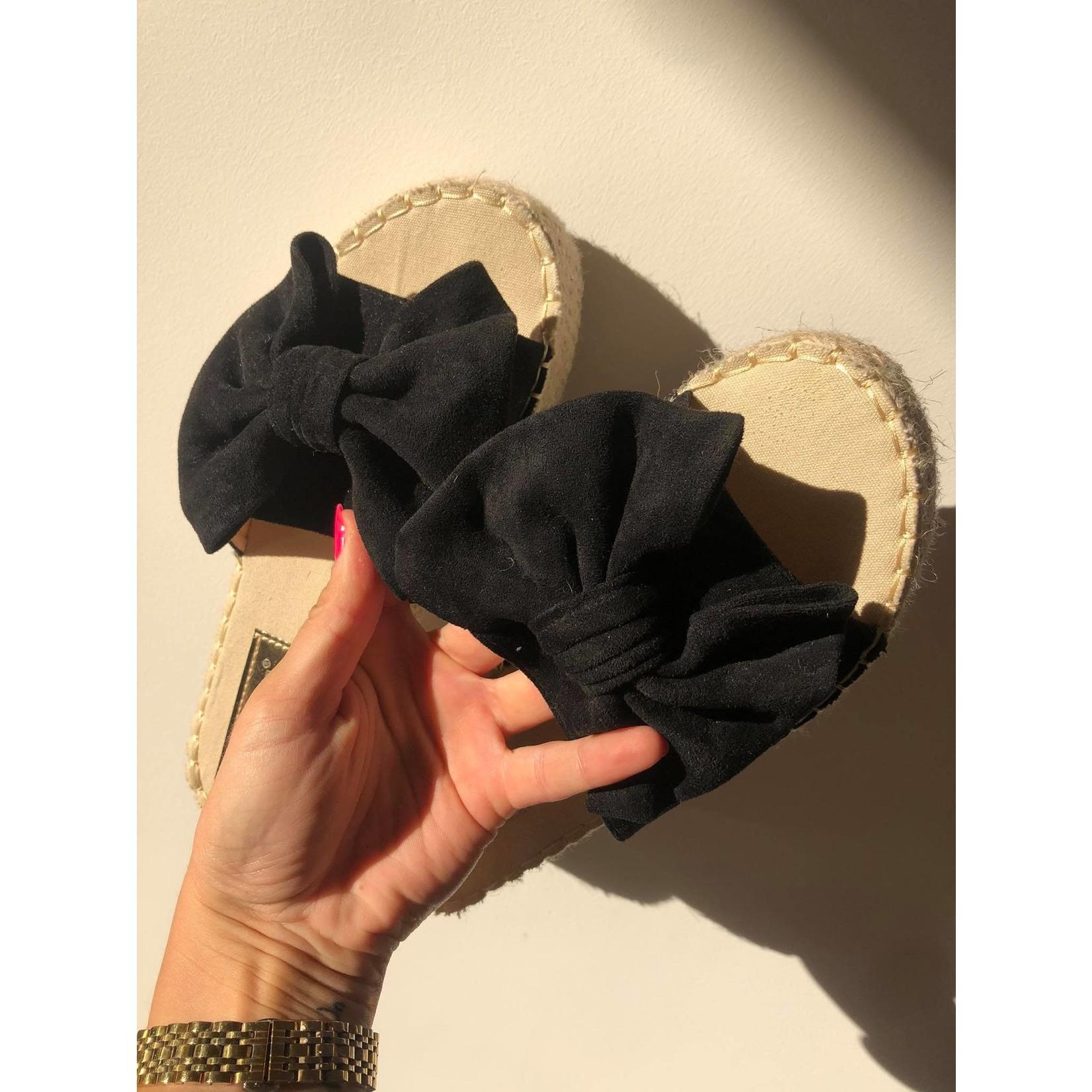 Bow espadrilles dikke zool zwart