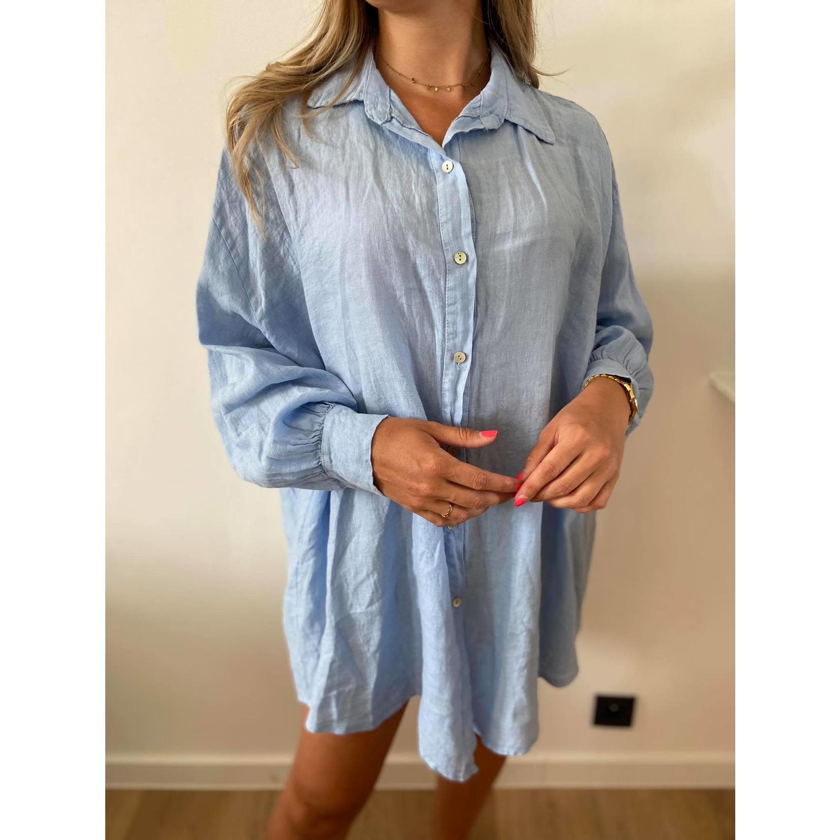 Linnen jurk mona blauw TU