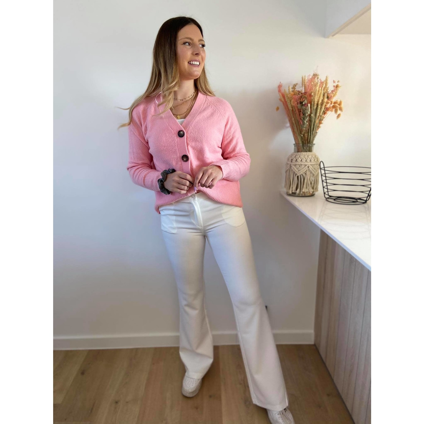 Flared stretch pants wit