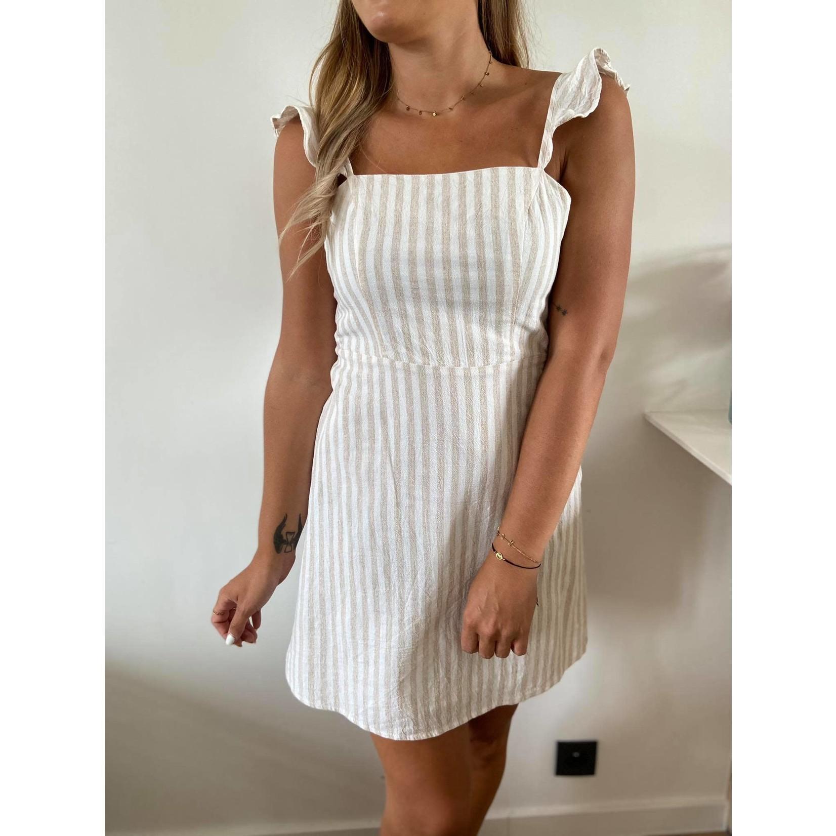 Denise dress beige stripe