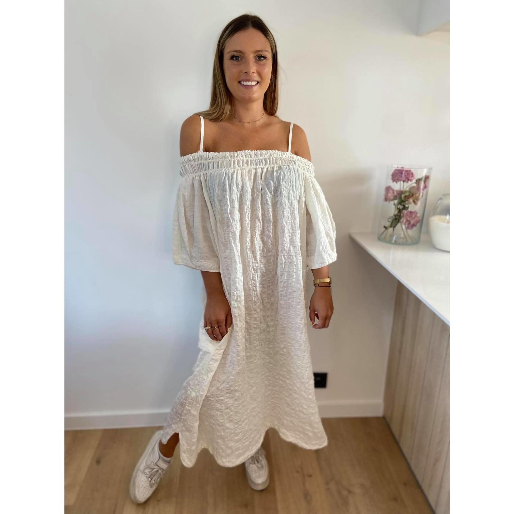 Off shoulder dress beige TU