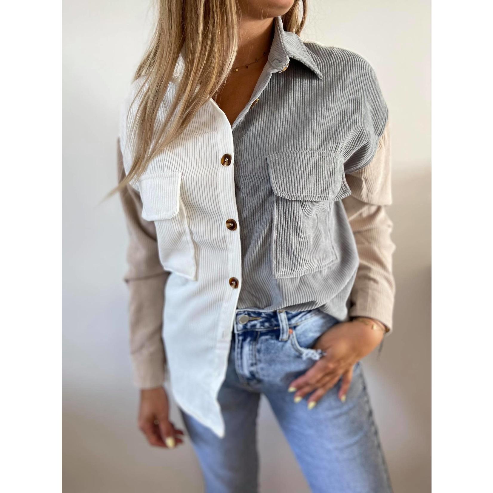 Color block button shirt grijs/beige