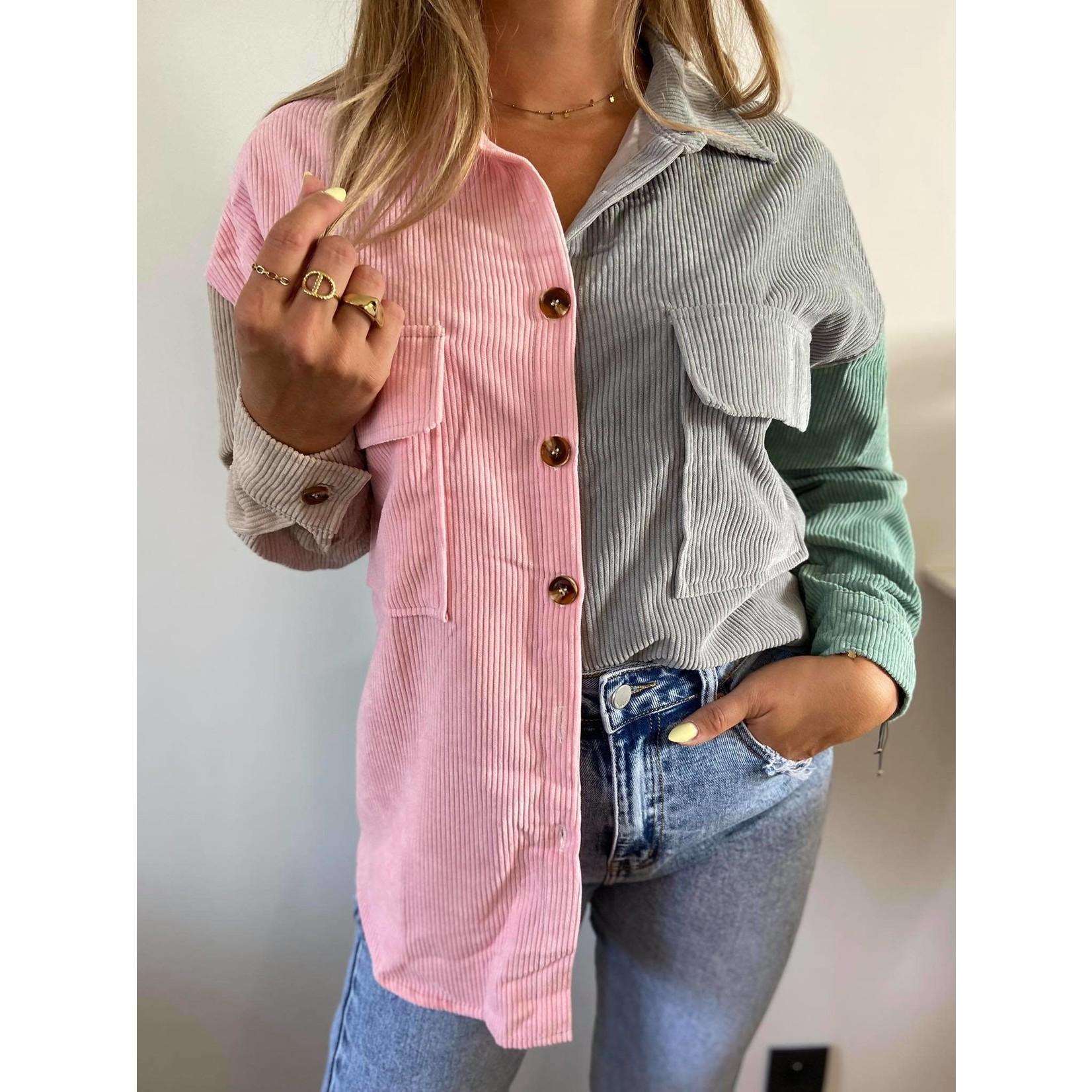 Color block button shirt roos/grijs