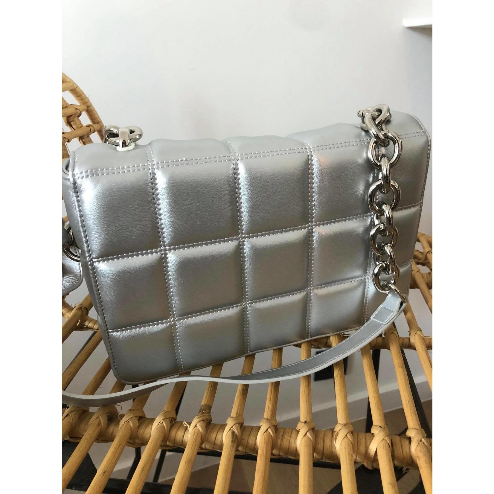 Quilted bag zilver