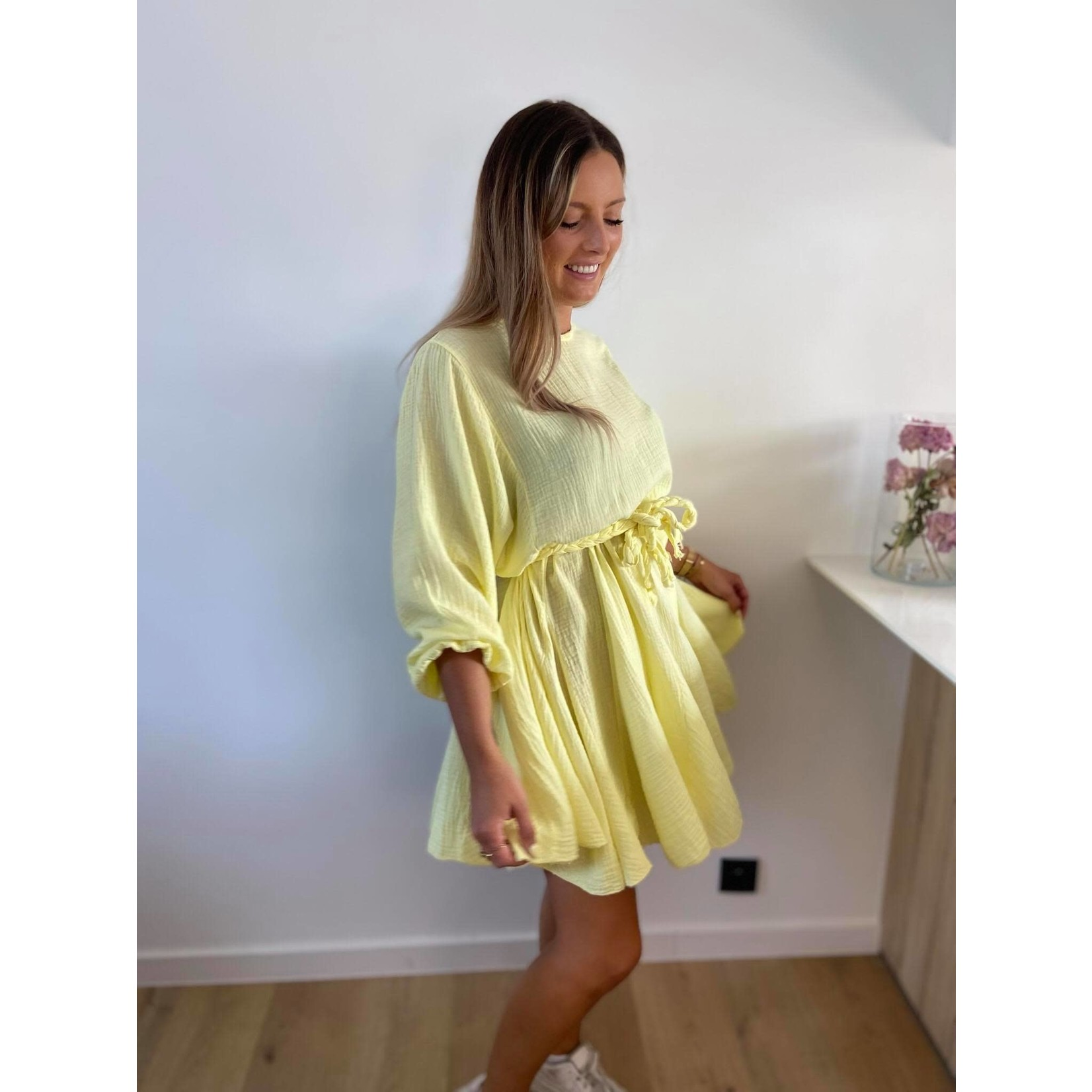 Tetra dress vlecht riem geel TU