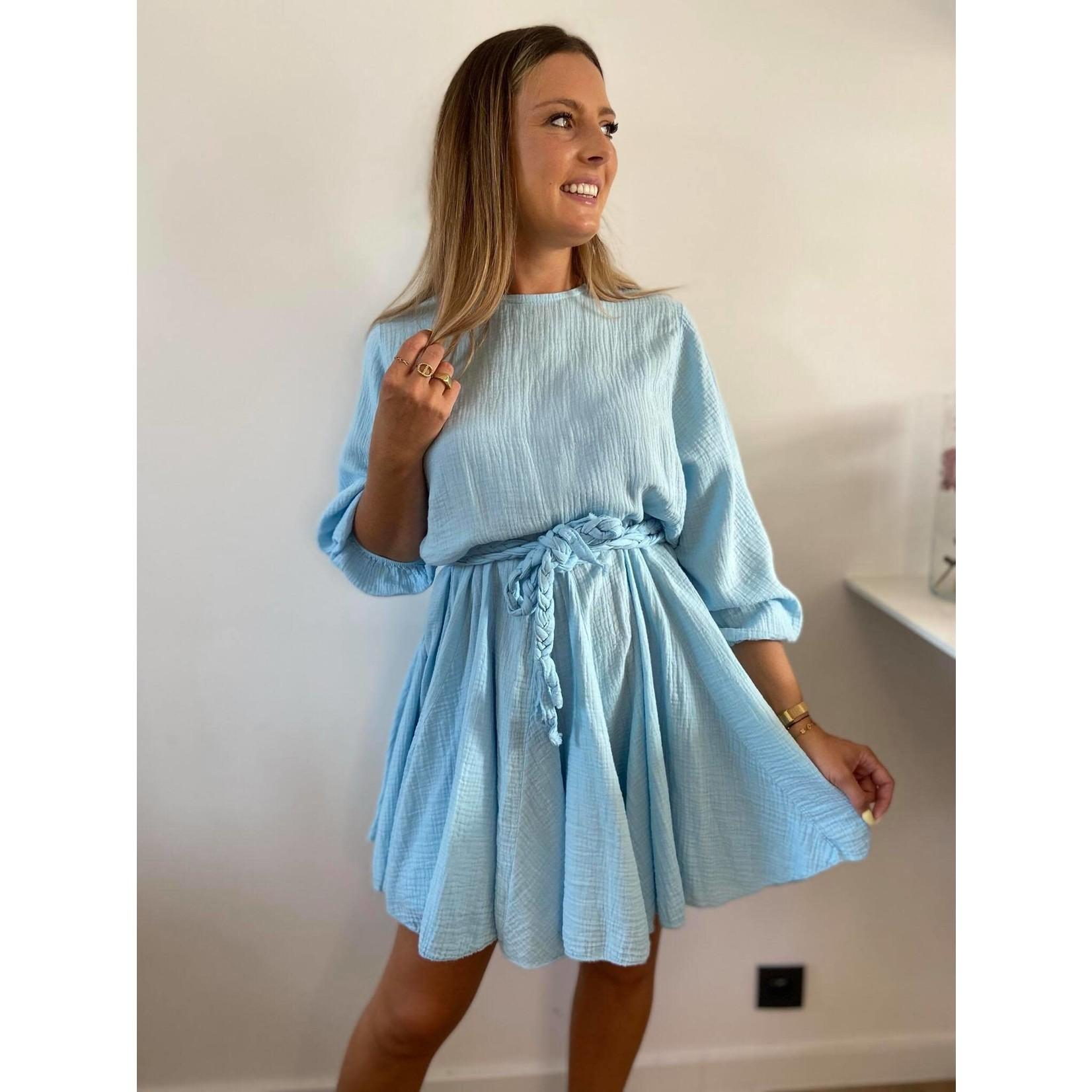 Tetra dress vlecht riem  blauw TU