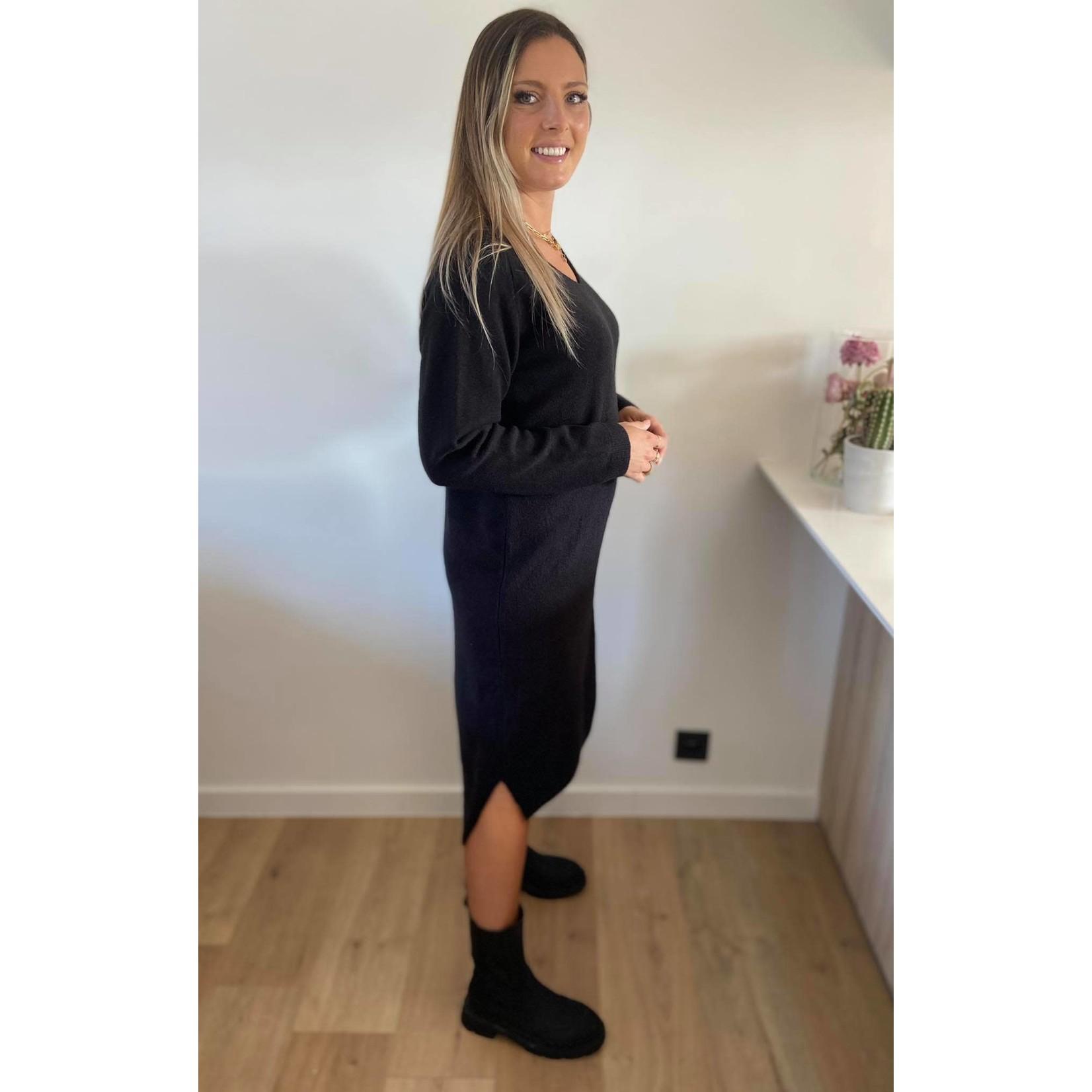 Soft v-neck issa dress black TU