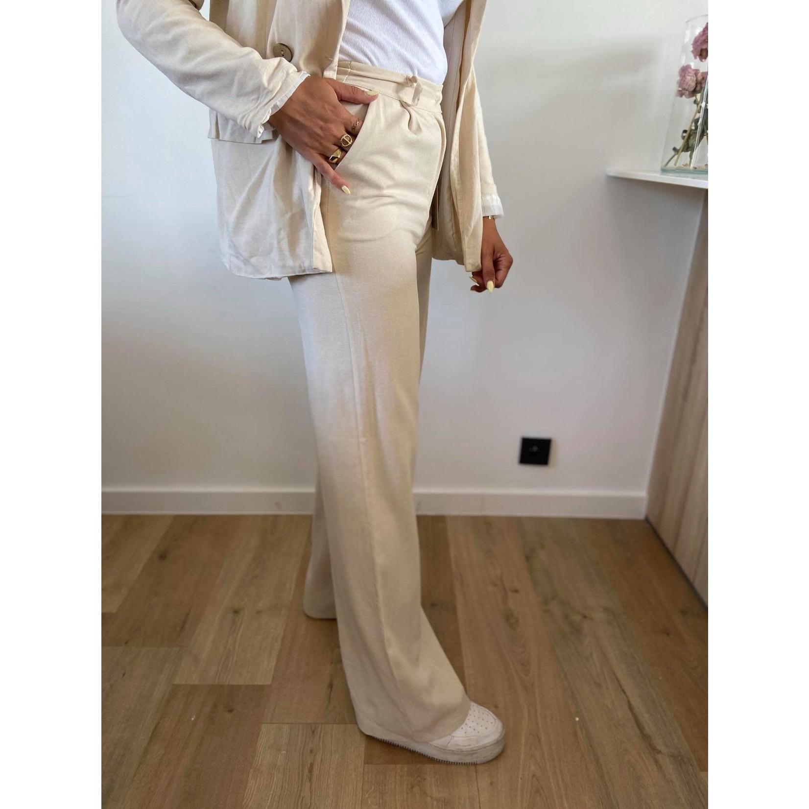 Line pants beige