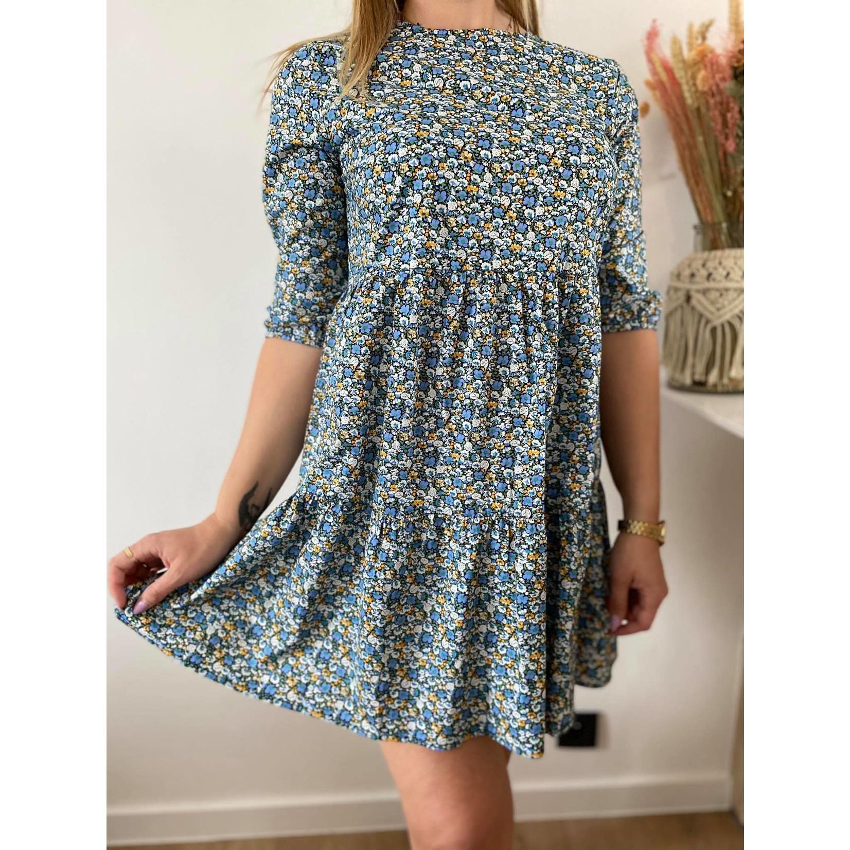 LUNA PUFF DRESS blue flower