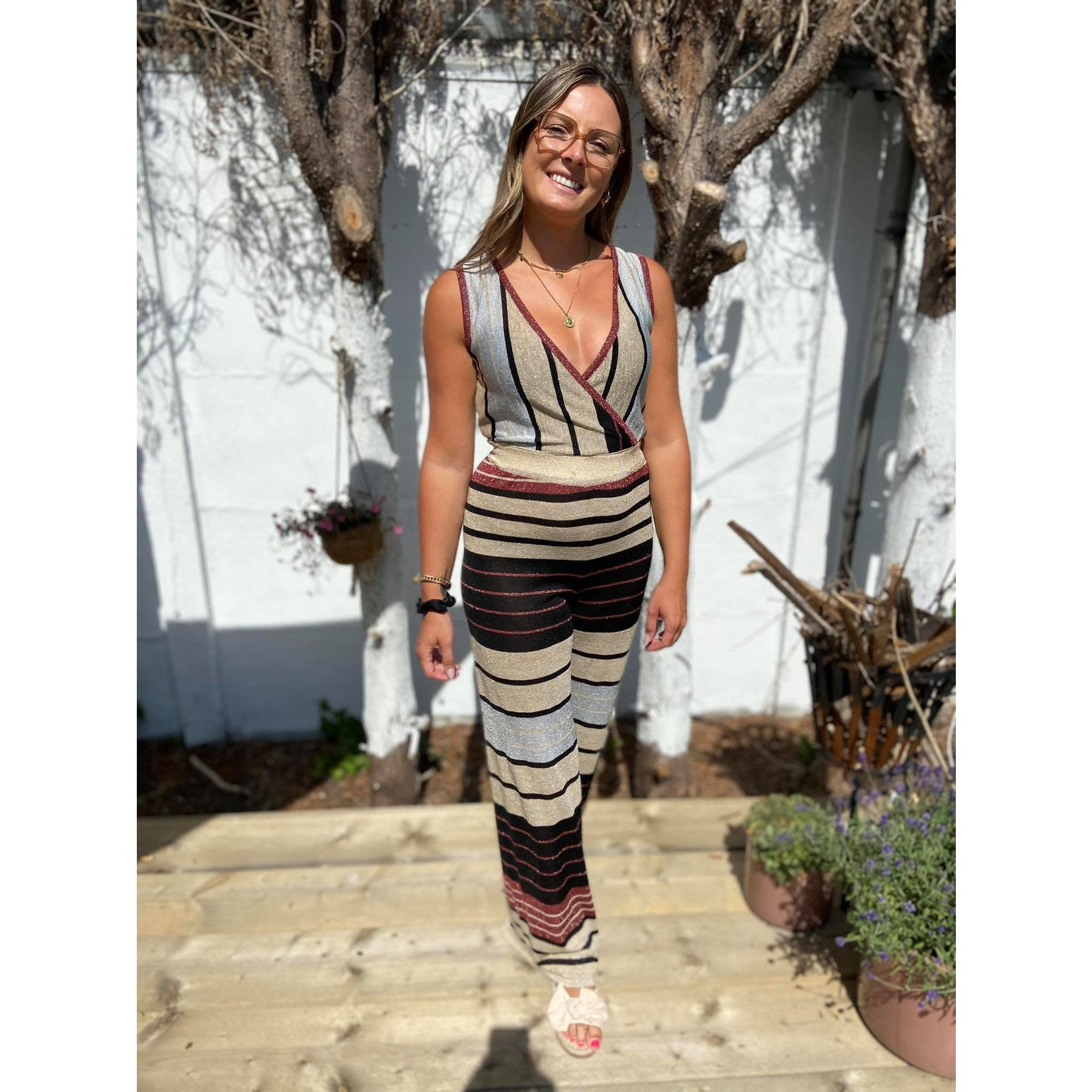 JUMPSUIT with stripes glitter