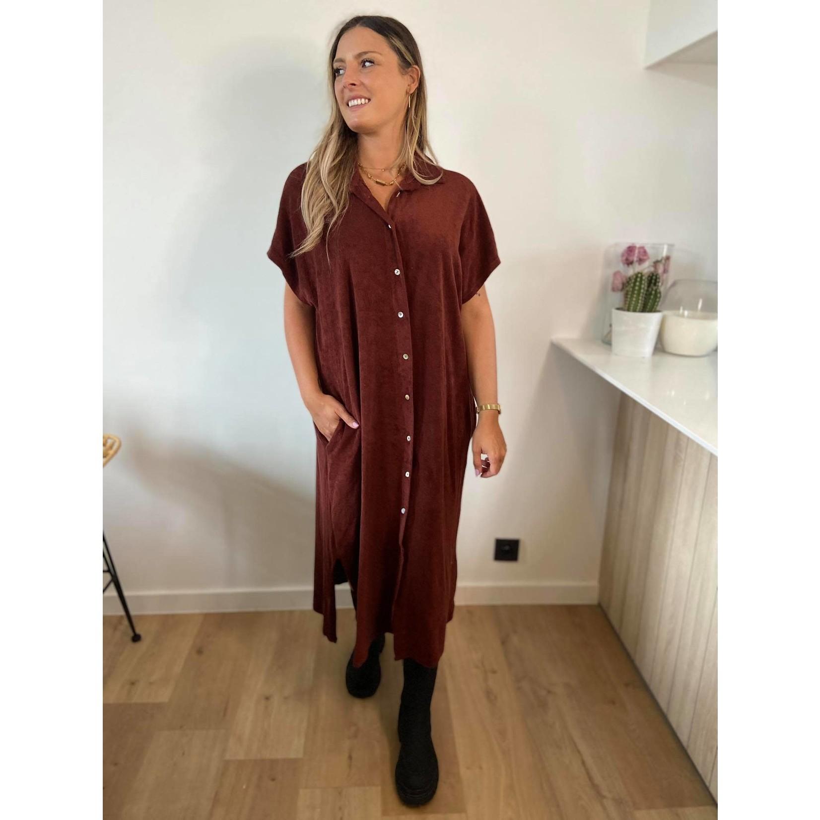 Towelling dress long terracota TU