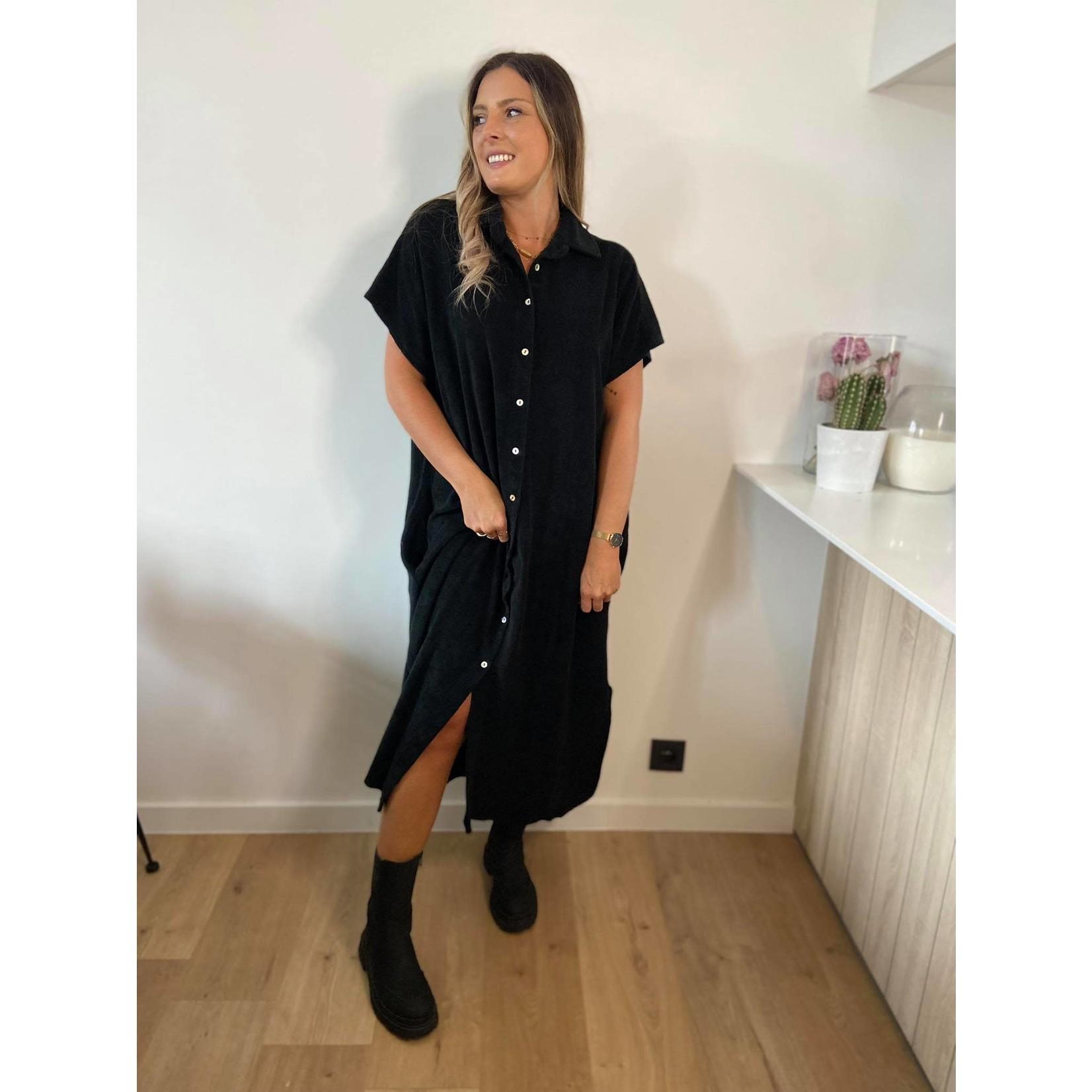 Towelling dress long black TU