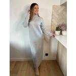 Long chunky knit dress licht grijs