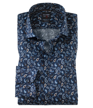 OLYMP OLYMP Body Fit Overhemd Blauw Print  XLM 2076.69.27
