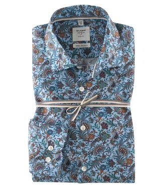 OLYMP OLYMP Body Fit Overhemd  Blauw Print   3578.64.11