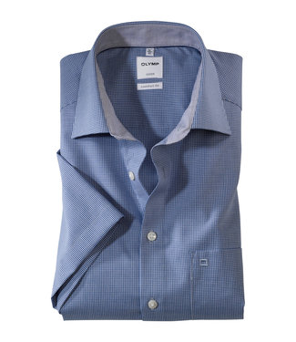 OLYMP OLYMP Comfort Fit Blauw vichy Korte M. 3190.12.19