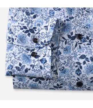 OLYMP OLYMP Body  Fit Wit/Blauw Print   2160.74.00