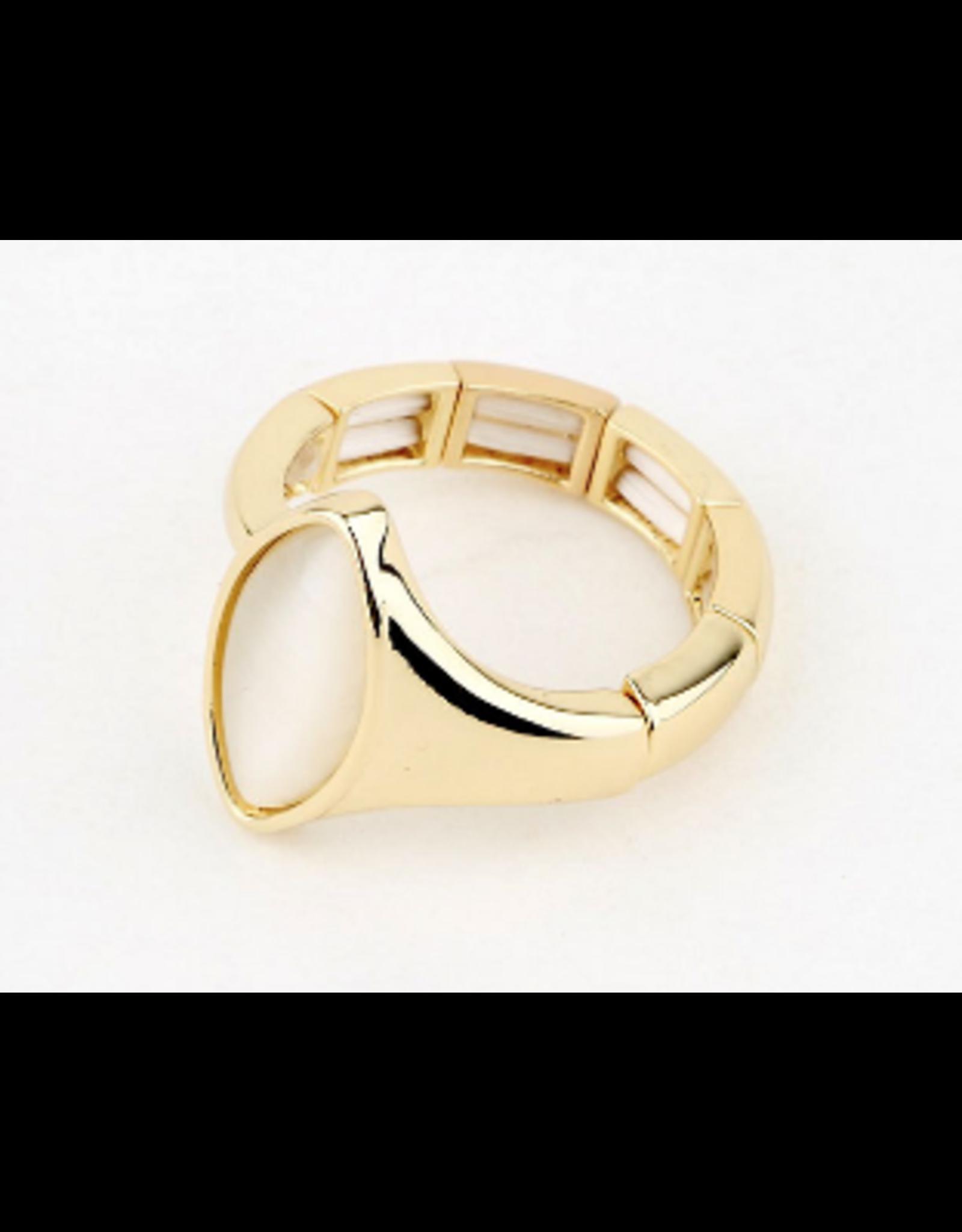 Axxes-Soir Ring - 1 maat - op elastiek - goudkleurig met ecosteen