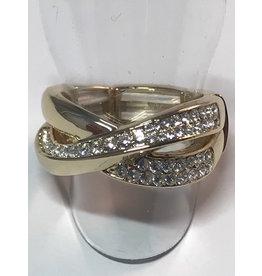 Axxes-Soir Ring - 1 maat - op elastiek - goudkleurig met Swarowski