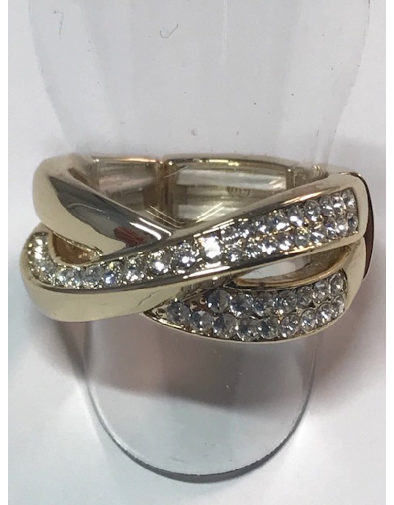Axxes-Soir Ring - 1 maat - op elastiek - goudkleurig met Swarowsky