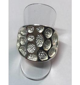 Axxes-Soir Ring - 1 maat - op elastiek - zilverkleurig - mat