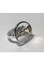Axxes-Soir Ring - 1 maat - op elastiek - zilverkleurig - blinkend en mat