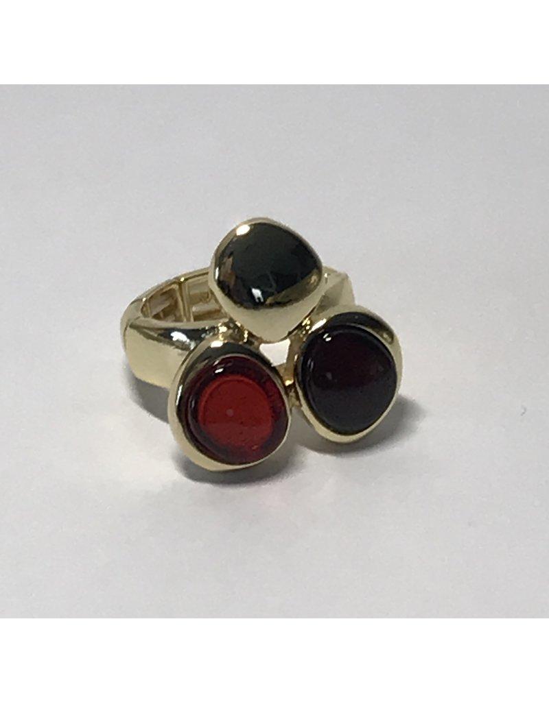 Axxes-Soir Ring - 1 maat - op elastiek - goudkleurig - met bordeaux