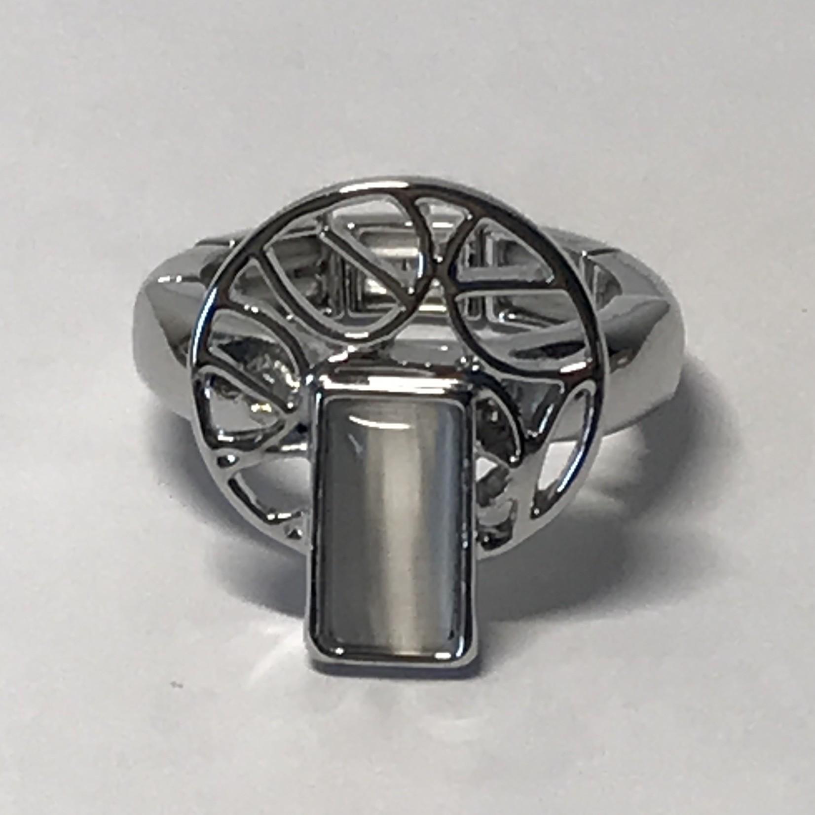 Axxes-Soir Ring - 1 maat - op elastiek - gun metal - met cateye