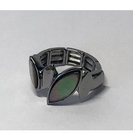 Axxes-Soir Ring - 1 maat - op elastiek - gun metal