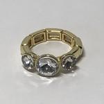 Axxes-Soir Ring goudkleurig elastisch met 3 stenen
