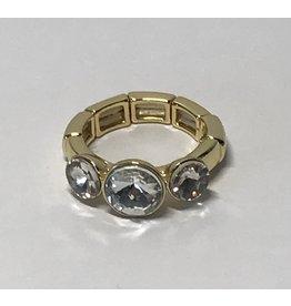 Axxes-Soir Ring - 1 maat - op elastiek - goudkleurig met 3 grotere stenen