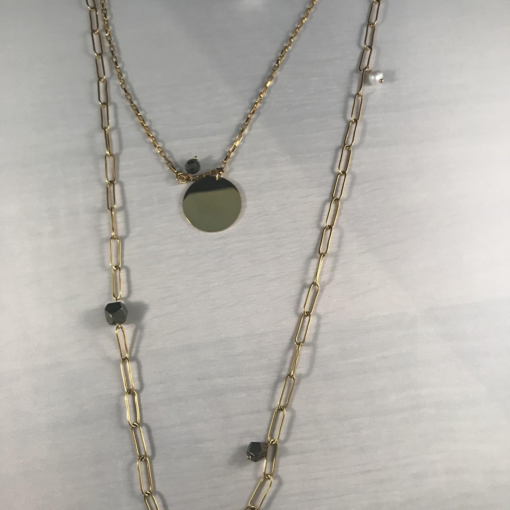 Axxes-Soir lange ketting - goudkleurig - 3 verschillende lagen