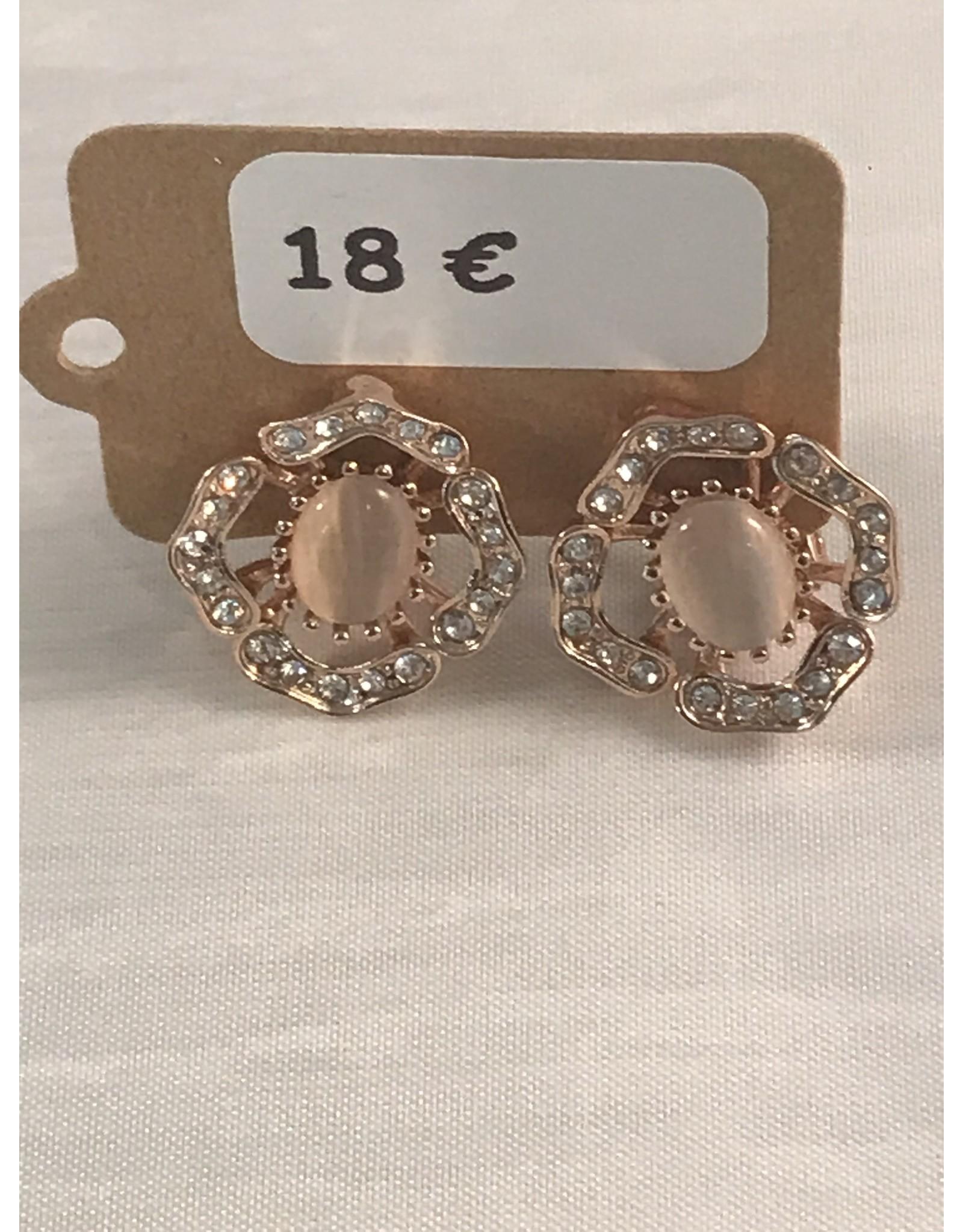 Axxes-Soir Oorringen clips - roségoudkleurig met steentjes